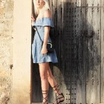 Reformation, off shoulder, dress, Mallorca, Sundown, Gladiator Sandals, Summerlook, Summer, Look, Outfit, ootd, Fashion, Blog, stryletz