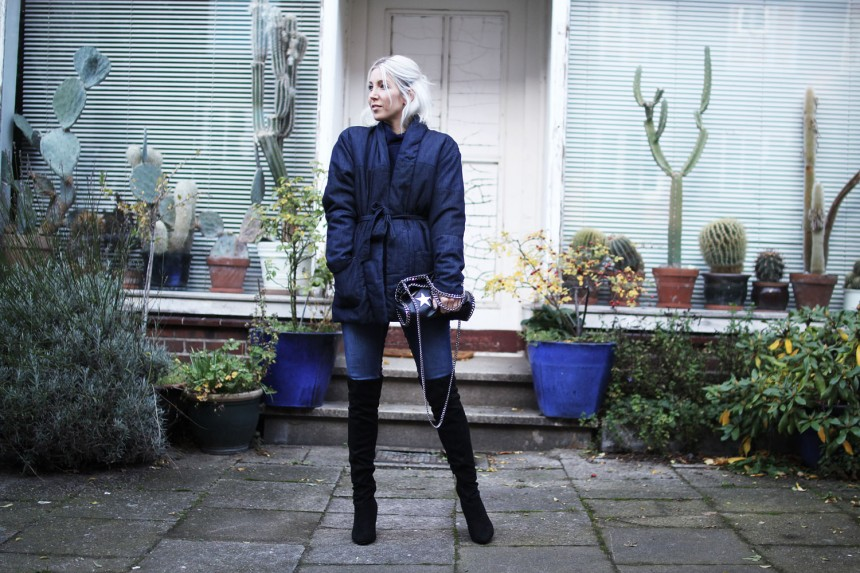 Overknees, Nicholas Keith, Zeit, Denim, Blue, Paisie, Knit, Skinny Jeans, Topshop, belted Jacket, Look, lotd, ootd, Outfit, Streetstyle, Inspiration, Fall, Fashion, Blog, stryleTZ