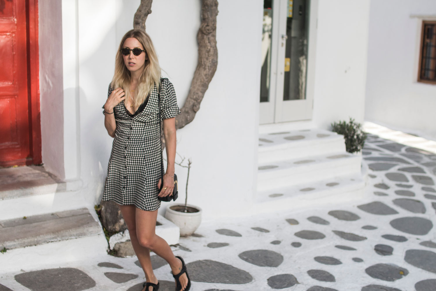Gingham, Mykonos, Birkenstock, Reformation, Dress, Bra, Komono, Sandals, vegan, ootd, Lotd, Look, Style, Stella McCartney, Summer 2017, Inspiration, Blog, stryleTZ